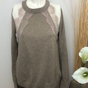 J.CREW Beige Wool Sweater with Lace Detail Size S